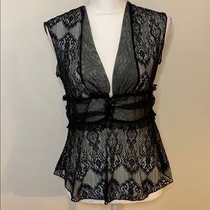 Arden B Black Lace Top Large